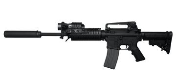 AR-15 Assault rifle side view stock photos