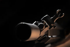 AR-15 front sight. Weapon series. Front view of AR-15 carbine against a black background. Close-up of a cas block and front sight Royalty Free Stock Photography