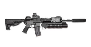 AR-15 (M4A1) carbine  on white background. Weapon Series. AR-15 (M4A1) carbine with holographic sight, M203 grenade launcher and Stock Images