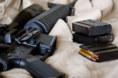 AR-15 rifle. Close-up of AR-15 rifle and magazines with ammo Royalty Free Stock Image