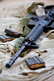 AR-15 rifle and magazines. Close-up of AR-15 rifle and magazines with ammo Stock Images