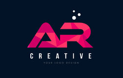 Free AR A R Letter Logo With Purple Low Poly Pink Triangles Concept Stock Images - 90949374