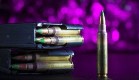 AR-15 ammo on purple Royalty Free Stock Image