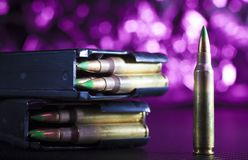AR-15 shells and magazines Stock Photo