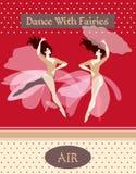 ar Coleção dos cartazes com mulheres da dança, descrevendo os quatro elementos Chapéu no formulário da nuvem ilustração royalty free