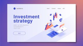 Augmented expanded reality Concept. 3d isometric design. Vector illustration. royalty free stock images