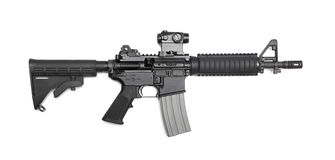 AR-15 CQBR carbine. AR-15 10,5 (M4A1 CQBR, Mk18 Mod.0) tactical carbine with the micro collimator (red dot) sight. Isolated on a white background. Weapon series Stock Photography