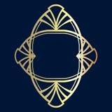 Ar deco frame vector. Decorative frame golden. Monogram element. Design ornament royalty free illustration