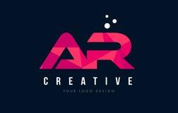 AR en r-bokstavslogo med purpurfärgat lågt Poly rosa triangelbegrepp royaltyfri illustrationer