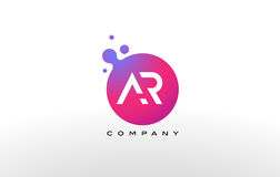 AR Letter Dots Logo Design with Creative Trendy Bubbles. AR Letter Dots Logo Design with Creative Trendy Bubbles and Purple Magenta Colors Royalty Free Stock Photo