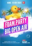 Ar livre do verão do partido da espuma Molde do projeto do cartaz ou do inseto da praia ilustração royalty free
