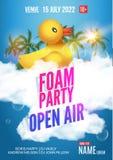 Ar livre do verão do partido da espuma Molde do projeto do cartaz ou do inseto do partido da espuma do partido da praia ilustração royalty free