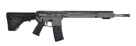 AR15 / M16 with collapsible stock, 18` barrel. AR15 / M16 with collapsible stock, 30rd mag, SS 18` barrel with tungsten upper, lower, hand guard and black stock Stock Photography