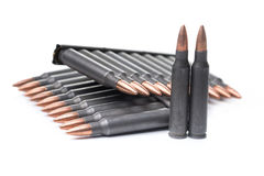 Ar15 m16 m4 kalashnikov cartridges with ammo clip isolated on wh Royalty Free Stock Photos