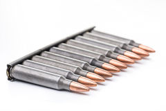 Ar15 m16 m4 kalashnikov cartridges with ammo clip isolated on wh Stock Images