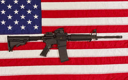 AR15 M4A1 M16 Style Weapon Automatic Rifle with USA Flag Stock Images