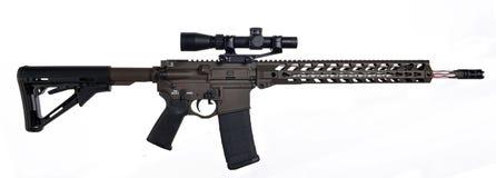 AR15/M16 med räckvidd, fördjupat hopfällbart materiel, trumma för 18 ` Arkivbilder