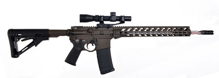 AR15 / M16 with scope,  extended collapsible stock, 18` barrel Stock Images