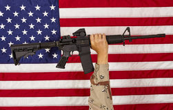 AR15 M4A1 Soldier Man with  M16 Style Weapon Automatic Rifle on Royalty Free Stock Photos