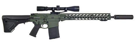 AR10 med räckvidd och supressor Royaltyfri Bild