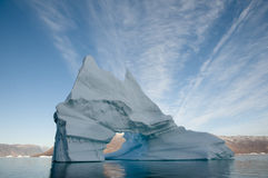 Pierced iceberg - Scoresbysund Fjord - Greenland Stock Image