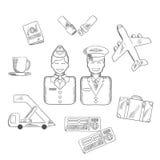 Ar que viajam e ícones da aviação ajustados Foto de Stock Royalty Free