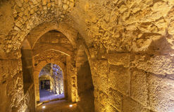 AR-Rabid αρχαίο αραβικό φρούριο Castle Ajlun Ιορδανία Qalat Στοκ Εικόνες