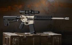 Ar15 rifle. With ammo cans Stock Photos