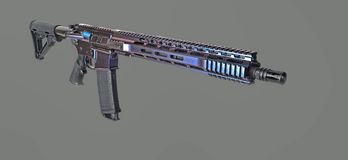 AR15 rifle painted with color changing coating with 3 colors visible. AR15 rifle painted with color changing coating, 16` barrel a clear 30rd mag loaded with stock photo