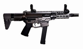 AR9 SBR with 33rd mag and collapsible stock and 5.5` barrel. AR9 SBR with 33rd magazine, collapsible stock, iron sights, 5.5` barrel Royalty Free Stock Photo