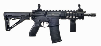 AR15 SBR with 30rd mag and collapsible stock. Black AR15 SBR with 30rd magazine, collapsible stock, fwd pistol grip and iron sights Stock Photography
