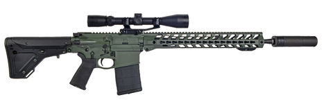 AR10 with scope and supressor Royalty Free Stock Image