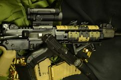 AR 15 with silenced pistol. AR 15 with silenced 9mm pistol and ammo and magazines Stock Photos