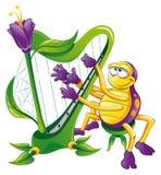 Araña con la arpa stock de ilustración