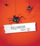 Araña de Halloween en un sombrero y un lazo Imágenes de archivo libres de regalías