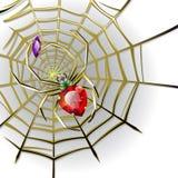 Araña de la joyería con las gemas en el Web del oro Imagenes de archivo