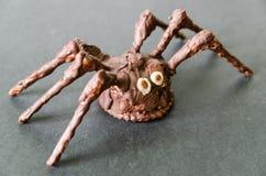Araña hecha en casa del chocolate en fondo negro Fotografía de archivo libre de regalías