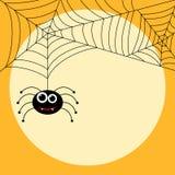 Araña linda temática de Halloween con los web Fotografía de archivo libre de regalías