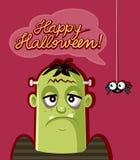 Araña linda y monstruo asustadizo que celebran Halloween foto de archivo