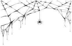 Araña negra y web rasgado Spiderweb asustadizo del símbolo de Halloween stock de ilustración