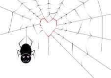 Araña que hace un web del corazón Fotografía de archivo libre de regalías
