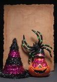 Araña y calabaza del feliz Halloween Foto de archivo