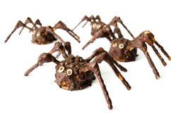 Arañas hechas en casa del chocolate aisladas en el fondo blanco Foto de archivo