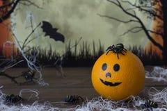 Arañas, noche, anaranjada para Halloween Imagen de archivo libre de regalías