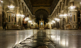 Ara Coeli in Rome. ROME, ITALY - FEBRUARY 13, 2015:  Interior of church Santa Maria Ara Coeli on the Capitoline Hill Royalty Free Stock Photography