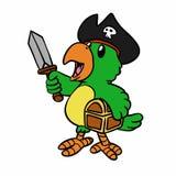 Ara divertente del pirata - pappagallo verde illustrazione di stock