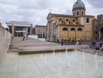 Ara Pacis Museum Fountain, Rom Stockfotos