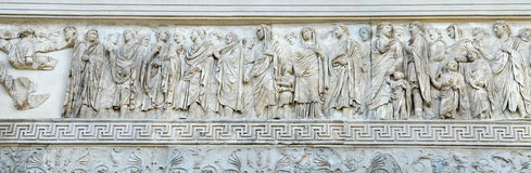 Ara Pacis in Rome. The Ara Pacis Augustea is an altar to Peace consecrated on 9 BC by the Senate to celebrate the peace established in the Empire after Augustus' Royalty Free Stock Image