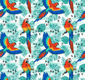 Ara parrot  vector seamless pattern.  Tropical fabric design with leaves and birds. Stock Photos