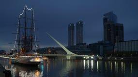 ARA Presidente Sarmiento museum ship at night in Buenos Aires, Argentina. Stock Image